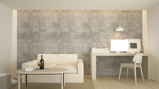 The interior relax 3d rendering and white minimal