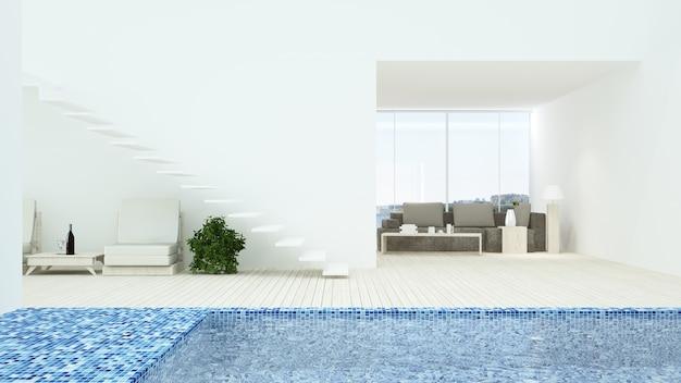 인테리어 휴식 공간 연결 수영장과 3d 렌더링-자연보기 배경