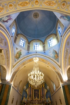 Interior of the roman catholic cathedral of fira.