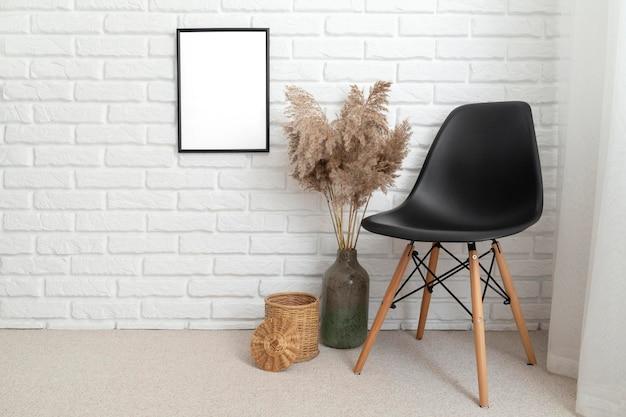 Interior room design with copy space