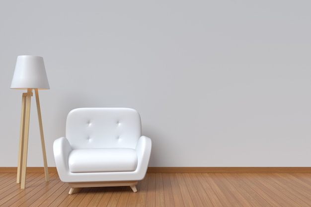 Interior room has a white sofa and lamp on empty white wall background
