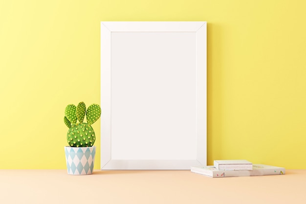 Interior of a room mockup for a girl in a festive decor frame mock up a4