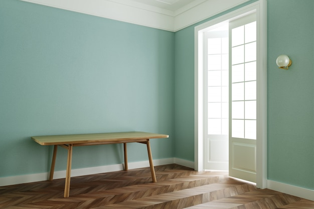 Interior room pastel green color, classic style with wooden table. 3d rendering