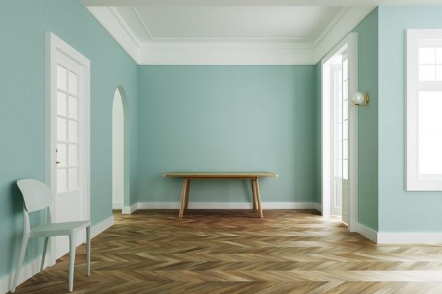 인테리어 룸 파스텔 그린 색상, 나무 테이블과 흰색 의자 클래식 스타일. 3d 렌더링