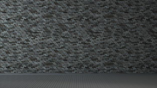 Внутренняя комната с темно-серой кирпичной стеной и деревянным полом. 3d иллюстрации.