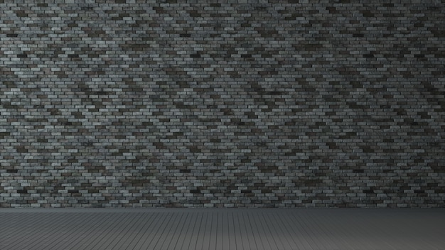 Interior room with dark grey brick wall and wooden floor. 3d illustration.