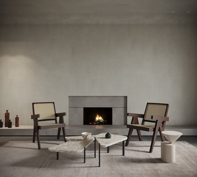 Interior of a room with a fireplace and chairs