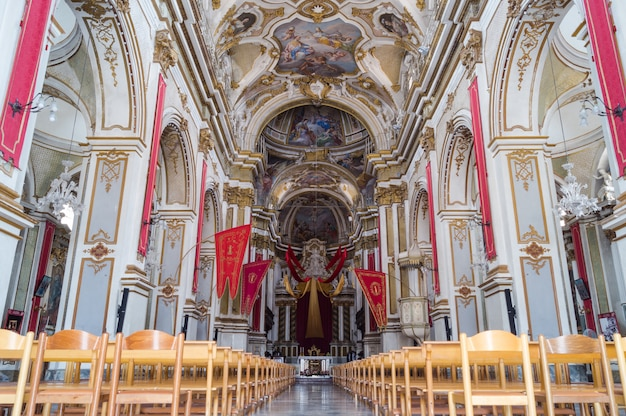 Interior of santa maria maggiore church in ispica, ragusa
