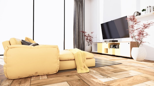 Interior scene mock up with yellow sofa and decoration on room minimalism. 3d rendering