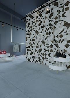 Interior of a shop with wall and floor design