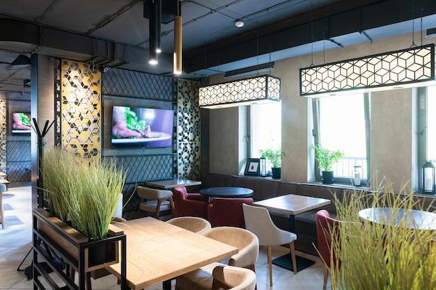 Interior shot of modern restaurant