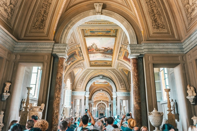 Interior shot of the  museums in vatican city