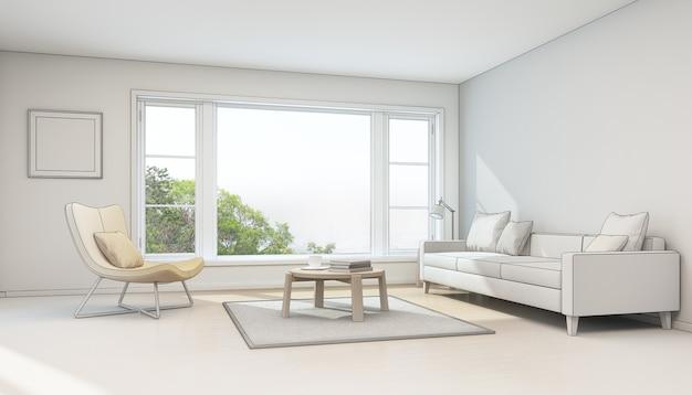 Interior sketch design. 3d rendering of living room in modern house.