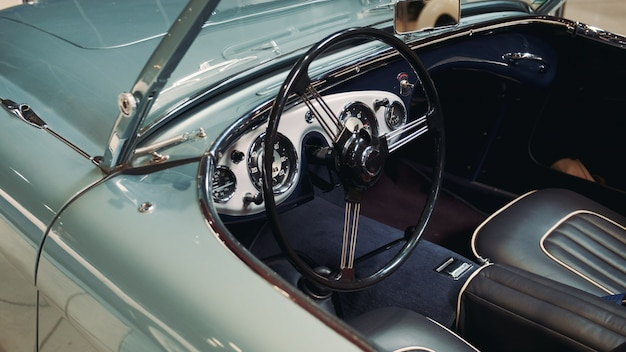Interior of sky blue vintage american car