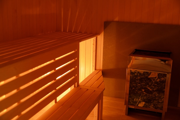 Interior of small home wooden sauna