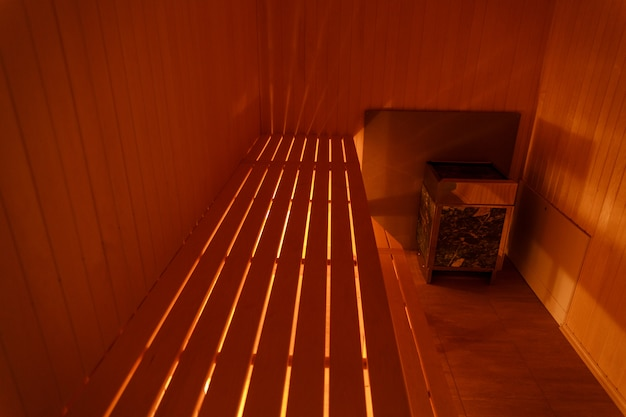 Interior of small home wooden sauna