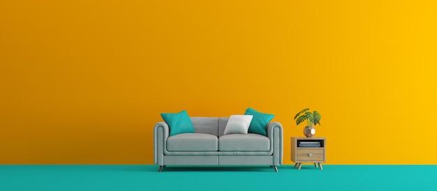 Интерьерный диван и стол у красочной стены