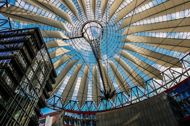 Interior of sony center's modernist-style shopping center