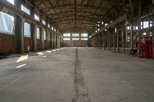 Interior space of abandoned factory warehouse