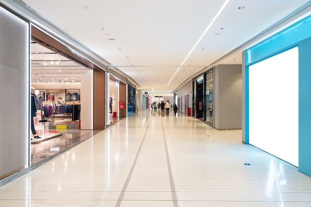 Interior space of department store