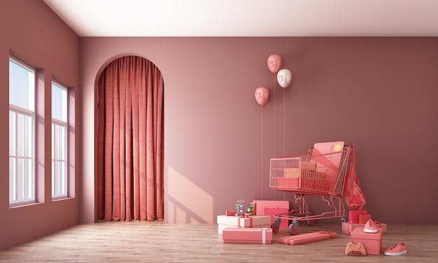 Giftbox로 슈퍼마켓 쇼핑 카트 주변 인테리어 공간. 컨셉 디자인 3d 렌더링