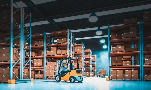 Interior of a storage warehouse with shelves full of goods