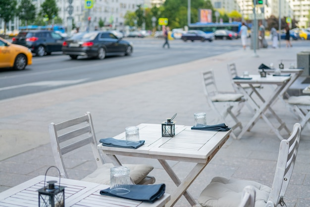 The interior of a summer street cafe. bright sunny day in the city.