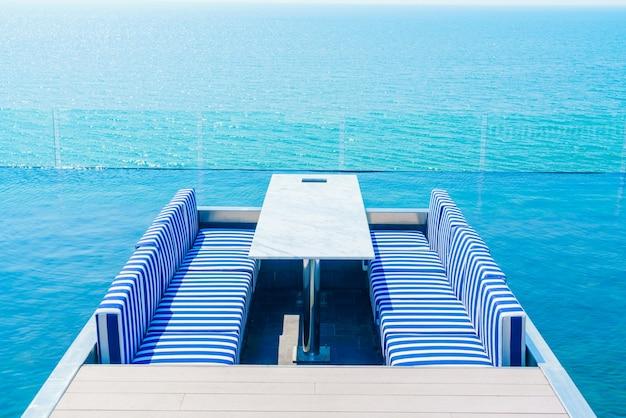 Interior summer wooden beach table