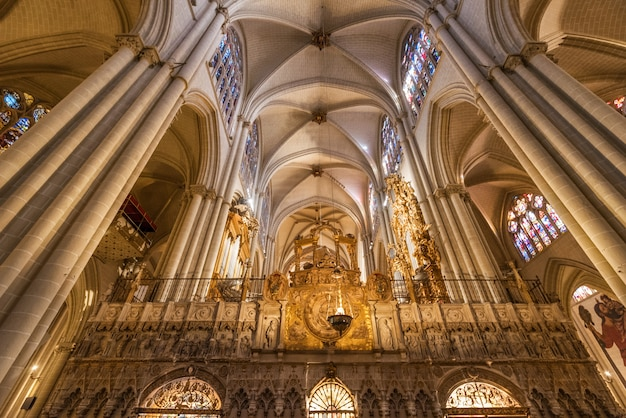 Interior of toledo cathedral in historic medieval city of toledo