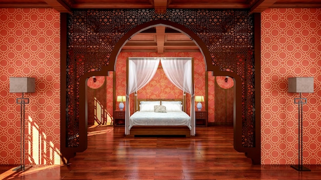 Interior of traditional chinese style bedroom interior with furniture and wooden floor