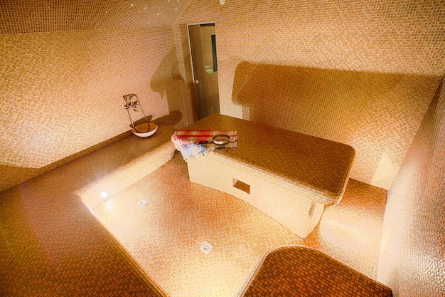 Interior of turkish sauna, hammam at spa center
