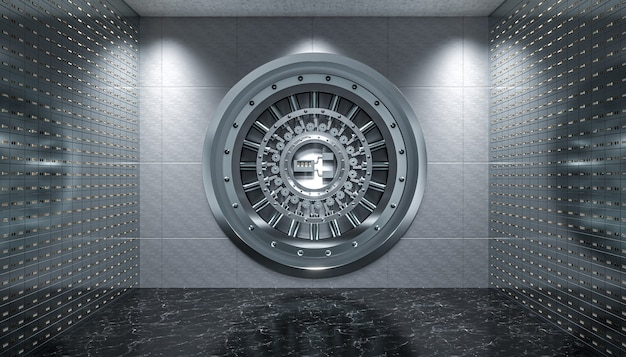 Interior of a vault with steel door and safety deposit boxes, black marble floor.