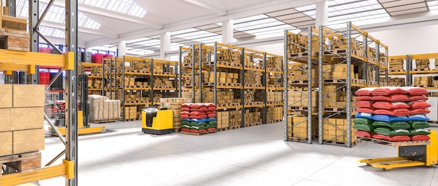 Interior of a very bright industrial warehouse