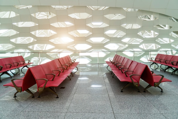 Interior view of airport terminal terminal lobby