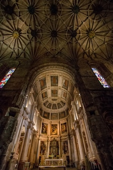 Interior view of the amazing gothic monastery of jeronimos landmark located in lisbon - portugal.