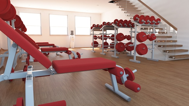 Interior view of a gym