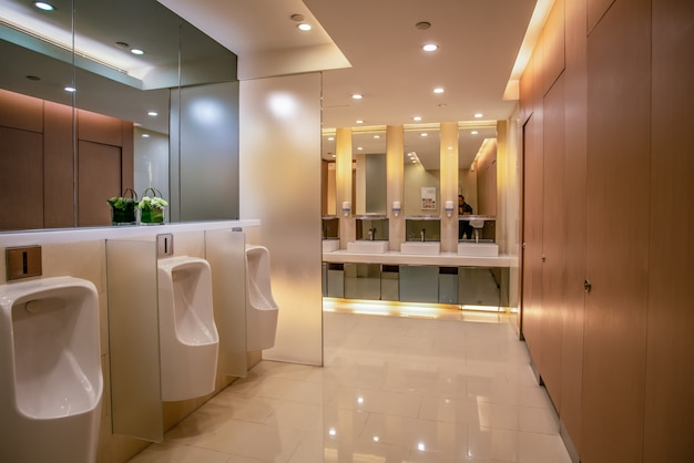 Interior view of modern bathroom in hotel mall