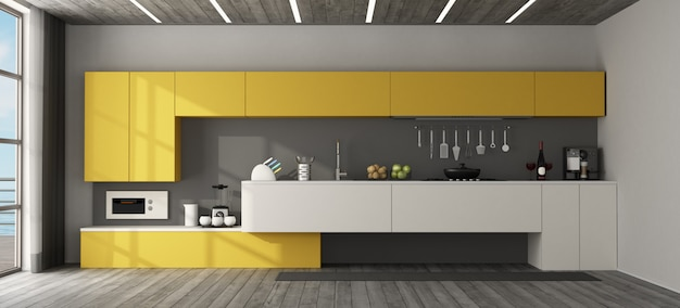Interior view of a modern  yellow kitchen