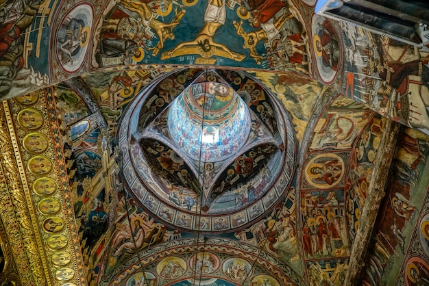 Interior view of the monastery in moldovita in moldovia romania on september 18, 2018