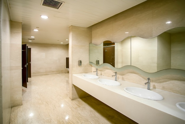 Interior view of shopping mall toilet