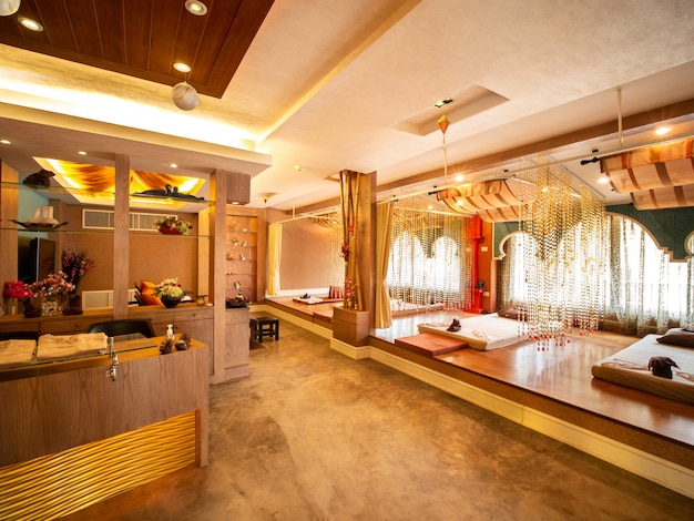 Interior of vintage massage room with nature light source from window