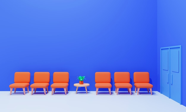 Interior of the waiting room concept on blue, 3d rendering