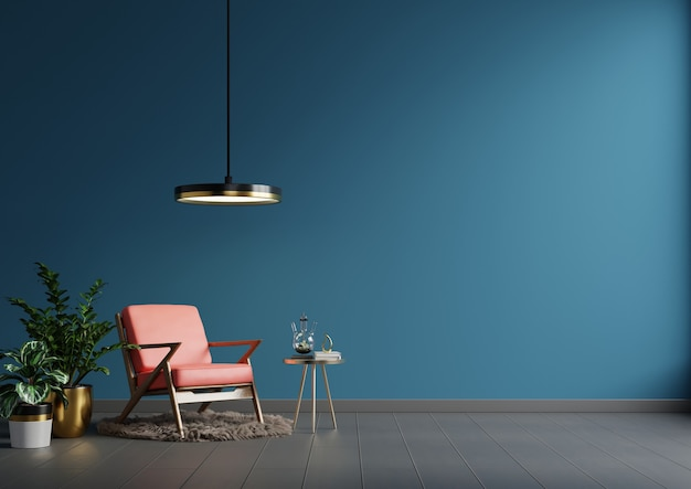 Interior wall in blue tones with red leather armchair on dark wall background.3d rendering
