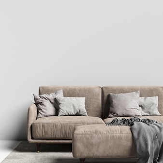 Interior wall gallery mockup with sofa and pillow