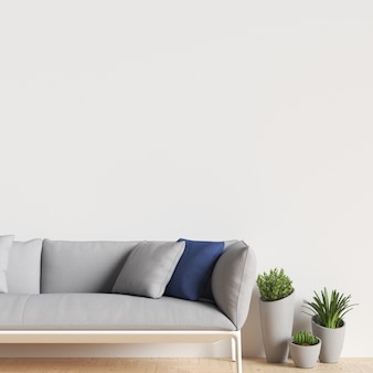 Interior wall gallery mockup with sofa and plant decoration