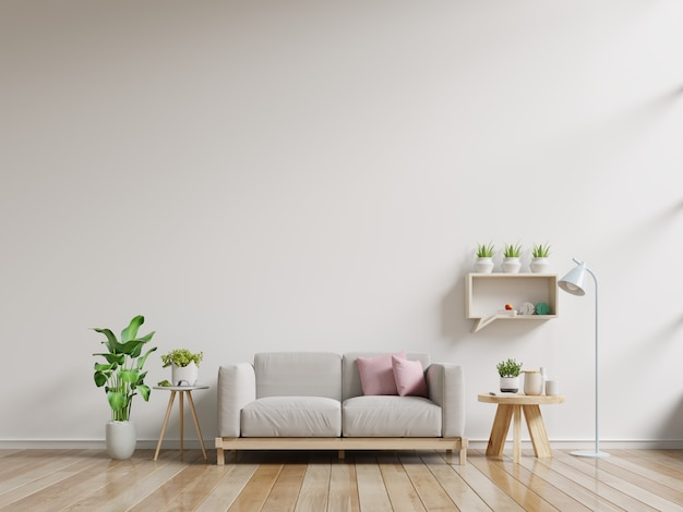 Interior wall mock up with sofa and wall shelves on empty white background.