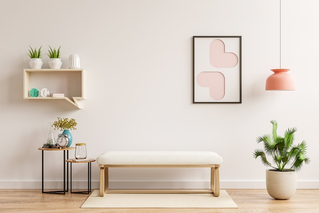 거실의 내부 벽 모형에는 무지 의자와 장식, 3d 렌더링이 있습니다.