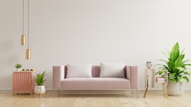 빈 흰 벽, 나무 바닥과 흰 벽에 핑크색 소파가있는 인테리어 벽 모형