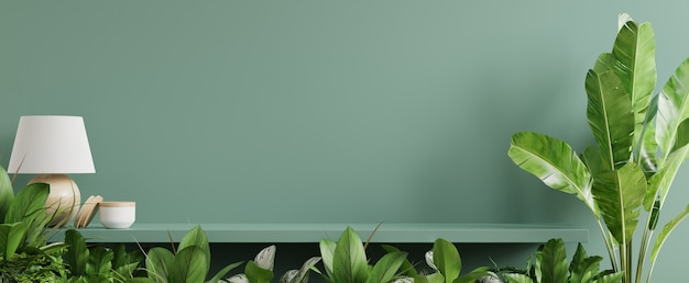 Макет внутренней стены с зелеными растениями, зеленой стеной и полкой. 3d визуализация