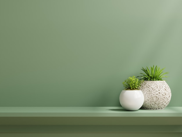 植物、緑の壁、棚のある内壁のモックアップ。3dレンダリング
